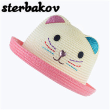 Wholesale new baby hat cap summer child cat ears ear decoration cute beach hat girl girl boy sun hat chapeau(China)