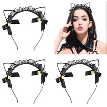 Factory direct sale of European and American lace and lace cat ear hair collar and sexy sexy fascinator(China)