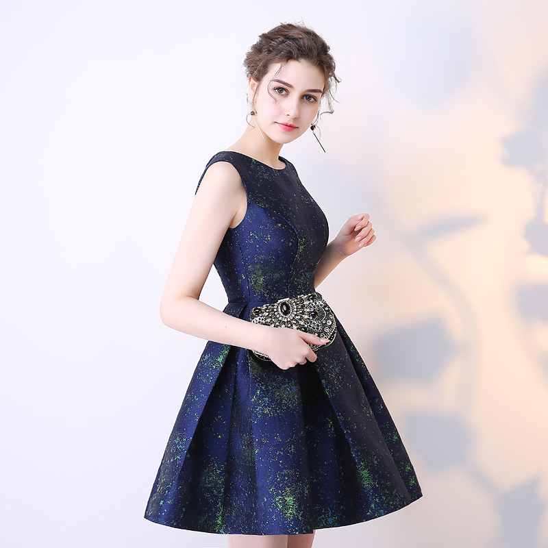 SOCCI Short Bridesmaide Dresses 2017 A-Line Real Photo Girls Homecoming Dress Sleeveless Blue Special Occasion Prom Party Gown 5