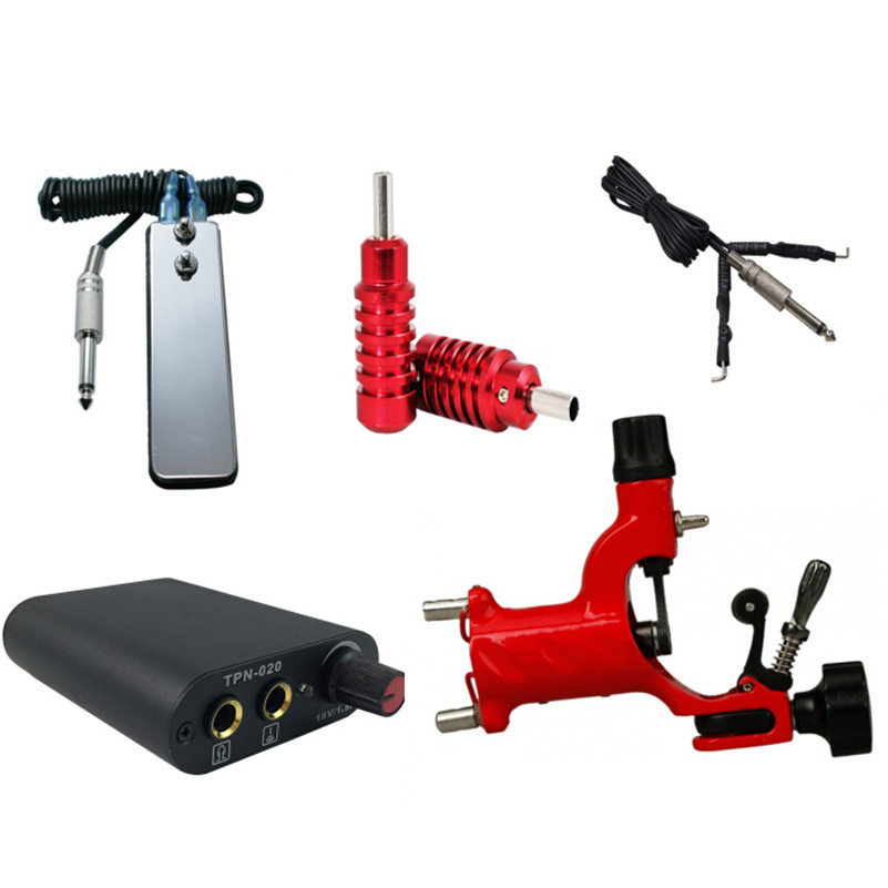 Professional Tattoo Machine Kit Complete 1pcs Red Dragonfly Rotary  Gun Kit Mini Power Supply Footpedal Grips For Tattoo Supply<br><br>Aliexpress