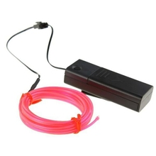 Neon Glowing Electroluminescent Wire  El Wire  with Battery Pack Controller  Pink,3M
