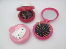 1 Pcs hello kitty New Girls Portable Mini Folding Comb Airbag Massage Round Travel Hair brush With Mirror Cute(China)