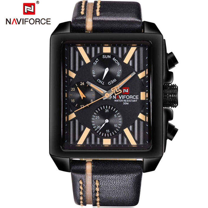 Watches Men Luxury Brand NAVIFORCE Fashion Sport Military Watches Mens Waterproof Leather Quartz Man Watch Relogio Masculino<br>