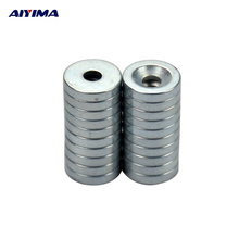 AIYIMA 20pcs 10x2mm With Hole 3mm Magnets Ring Countersunk Rare Earth NdFeB Neodymium Magnetic Tape Counter 10*2*3 Door Magnet