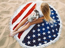 Summer Circle American Flag Tapestry With Tassel Printed Sports Beach Towels Sunbathing Sunscreen Shawls Round Table Cloths(China)