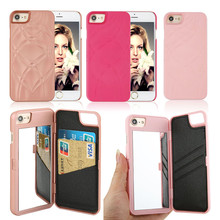 Luxury Mirror Case For Fundas iphone 7 7 Plus Charming Girls Leather Card Slots Wallet Dual Layer Hybrid Hard Cases For iphone7
