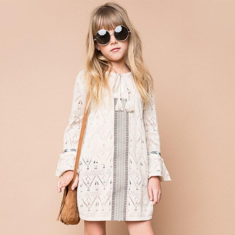 BOHO!! Girls Knit Ruffles Dress Princess Elegant Flare Sleeve Dress Hollow Out Tassel Design Children Clothing<br>