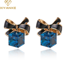 New jewelry Shimmer Chic fashion Gold Bowknot Cube Crystal Earring Gold Square bow Stud Earrings for Women XY-E598(China)