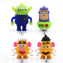 USB Flash Drives toy story 4GB Aliens Woody Mr. /Mrs.Potato Head pen drive usb2.0 8G 16G 32GB 64GB memory stick u disk pendrive(China)