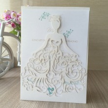12pcs/lot free shipping laser cut Beautiful dress girl birthday paty wedding invitation cards pretty greeting card
