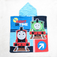 Baby Boys Thomas Train Hooded Towels/Children 100% Cotton Beach Towel Bathrobe/Kids Cartoon Printed Bath Towel Cloak(China)