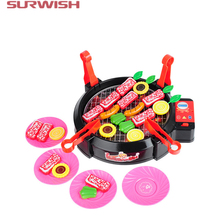 Surwish Playing House Electric Barbecue Oven Mini Kitchen Playset Early Development and Education Toy for Baby Kids