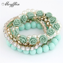Charm Bracelets For Women Jewelry Rose Flower Multi-layer Wrap Flower Bracelets & Bangles Vintage Pulseras Mujer Pulseiras Femme(China)