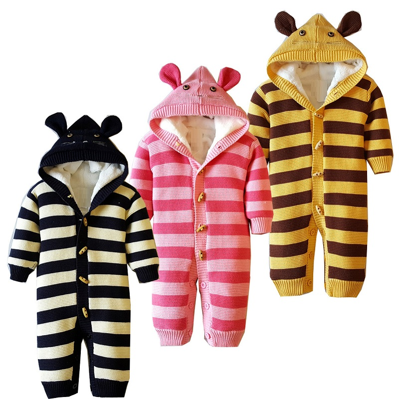 New autumn/winter babys sweater babys suitbody infant romper fit for 6 to 18 month baby warm clothing fleece inside 973<br>
