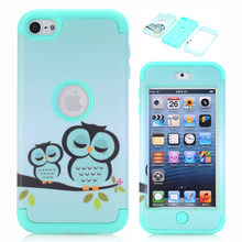 Cute Owl Armor Case For Apple iPod Touch 6 Shockproof Heavy Duty Silicone Hard Case Cover w/Screen Protector Film & Stylus Pen