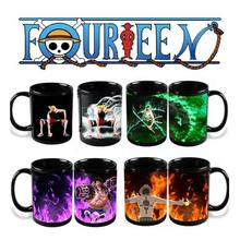Anime Coffee Cup Mug One Piece Luffy Zoro Ace Hot Changing Color Heat Reactive Tea Milk Cup Magic Ceramic Sailing Drinkware Copo