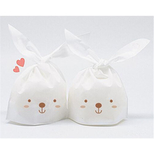 New Arrivals 25Pcs/Lot Cute Rabbit Ear Plastic Candy Box Biscuit Bag Moisture Proof Cookie Bags Food Cake Gift Packaging Bag