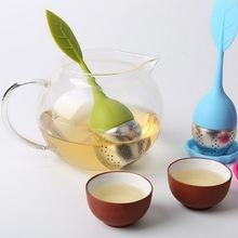 Urijk  5 Color Leaf Silicone Tea Infuser Reusable Strainer with Drop Tray Novelty Tea Ball Herbal Spice Filter Tea Tool