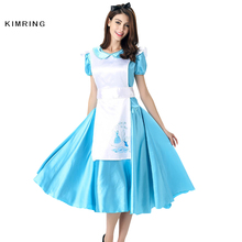 Kimring Princess Maid Dress Halloween Costume Apron Carnival Cosplay Fancy Dress Adult Women Blue Costume Dress