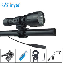 Brinyte Small Hunting Flashlight 700 lumen LED Flashlight Waterproof Remote Control Flashlight with Battery and Charger+Mount
