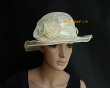 Ivory cream Small Sinamay  church dress Hat w/sinamay rose for wedding,derby,kentucky derby.