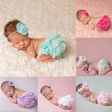 Baby girl Bloomers and Headband Set Photography Props Newborn Tutu Ruffle Panties Infant Girls Lace Shorts Photo Props JK983981