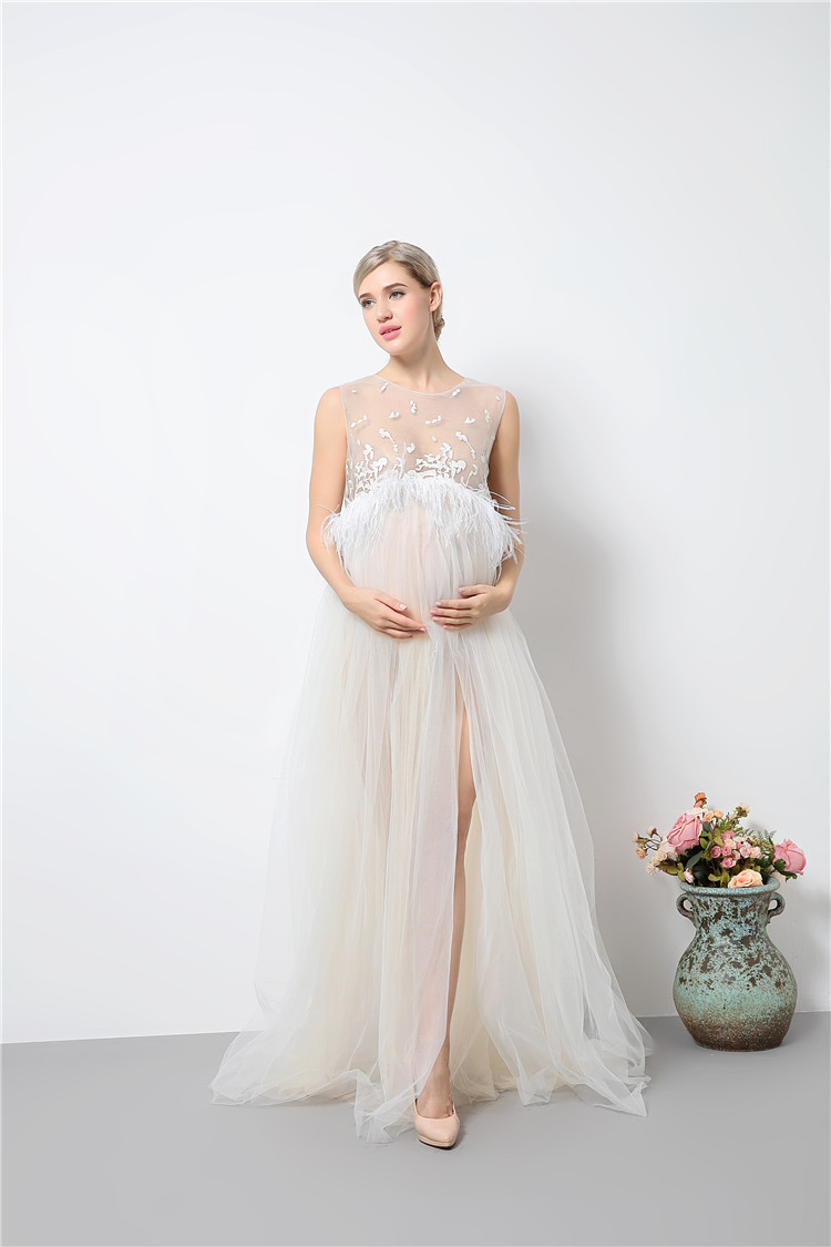 Ball gown maternity dress slit front lace artical maternity photography props dresses for pregnant women photo shoot women dress<br>