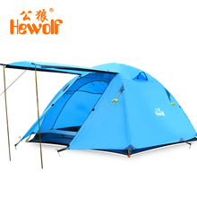 Hewolf Double Layer 3 4 Person Tents Rainproof Waterproof Outdoor Camping Tent Tourist Tent For Hunting Picnic Party Hiking(China)