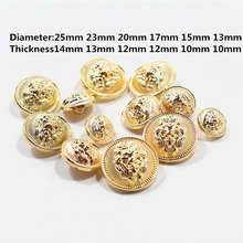 Free shipping, 10PCS gold metal button lion diameter of 13mm-25mm gold buttons, clothing accessories, shirt, coat brand buttons