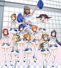 [Stock] Anime Lovelive! All Members Racing girls cosplay costume full set Cheerleaders uniform sexy PU dress NEW free shipping