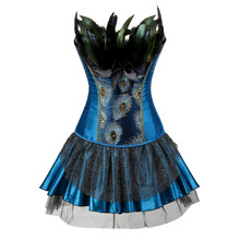 Embroidery Peacock Princess corset showgirl dance tutu skirt Cosplay Feathers Bustier bodyshaper suit Plus Size S-6XL(China)