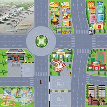 Children Educational TOys Parking Road Signs Map OPP Film City Simulation Alloy Car Scene