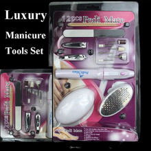 13 In 1 Super Manicure Set Art Electric Nail Polisher Pedicure Toenail Grinder Nial File Nail Clipper Orange Sticker Nail Tools