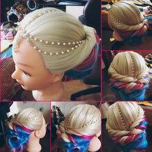 Новые яркие манекена Радуга волос манекен очень толстые яки Куклы голова с волосами 70 см длинные волосы Учебные головы-манекены большой ман...(China)