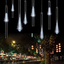 8pc/set 50cm Xmas LED Christmas String Lights Garden Trees Decoration Snow Fall Tubes Led Raining Meteor Light US White 34