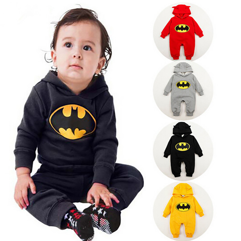 2017 Newborn Baby Boy Girl Long Sleeve Cotton Rompers Toddler Batman Warm Hooded Overall  Autumn One Piece Jumpsuit Clothing 192<br><br>Aliexpress
