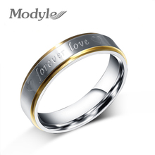 Modyle Gold-Color Stainless Steel Titanium Men Women Titanium 316L Forever Love Ring Promise Lovers Couple Rings Wedding Rings(China)