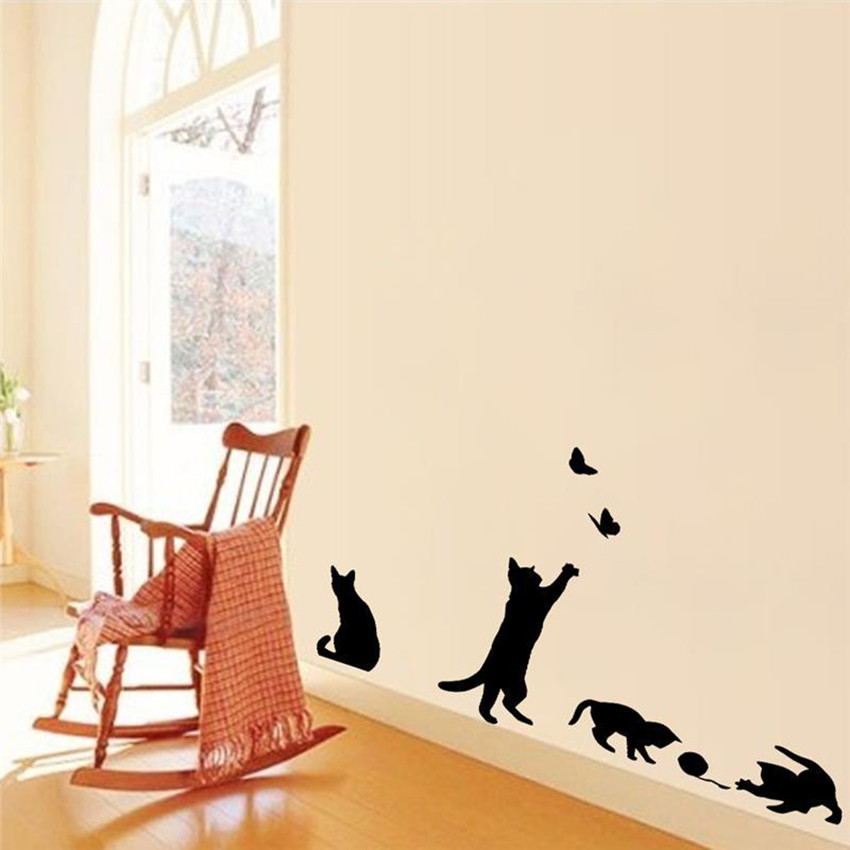 HTB1qzY0NpXXXXXYXVXXq6xXFXXXO - 1 Set/Pack New Arrived Cat play Butterflies Wall Sticker Removable Decoration Decals for Bedroom Kitchen Living Room Walls