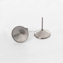 Stainless Steel Stud Earrings Findings with Circle Bezel Rivoli Stones Cabochons Bases Earrings post Settings DIY Crafts