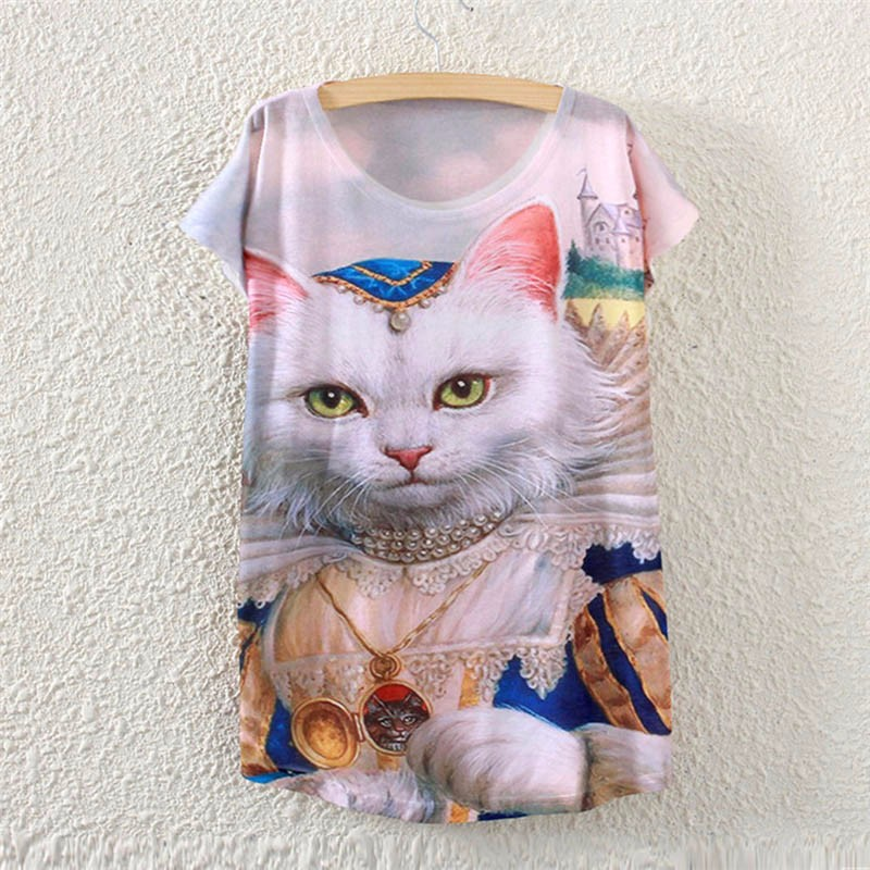2017 Brand New Polyester T Shirt Women Short Sleeve Shirts O Neck Causal Loose Print India Cat Summer Tops For