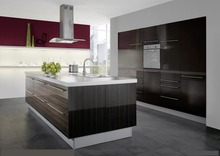 Black color lacquer design kitchen cabinet K014