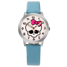 ot01 Hello Kitty Cartoon Watches For Kid Girls Students leather Straps Wristwatch Analog hellokitty Quartz watch montre enfant(China)