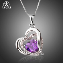 AZORA Forever Love Three Heart Superposition Romantic Purple Cubic Zirconia Pendant Necklaces for Valentine's Day Gift TN0200(China)