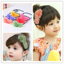 korean cute boutique black child girls big tulle chiffon flower thin headbands hairband floral hair clasp hairbands accessories
