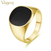 VOGEM Vintage Men Rings Yellow Gold Color Cool Signet Ring for Men Onyx Pinky Ring with Black Stone Little Finger Jewelry Ring