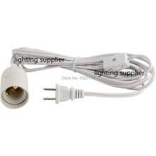 100pcs white color UL approved IQ lamp power cord with on/off gear switch and E26 lampholder and 3.5 meter long power cable