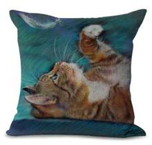 45*45 Cm Cat Cafe/Home Decorative Cute Printing Cotton Linen Cat Pillows