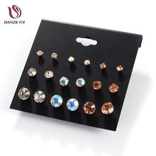 Danze 9 Pairs/lot AB Color 8 mm Crystal Stud Earrings Set For Women Cute Claire Rhinestone Earing Studs Jewelry Aros Pendientes(China)