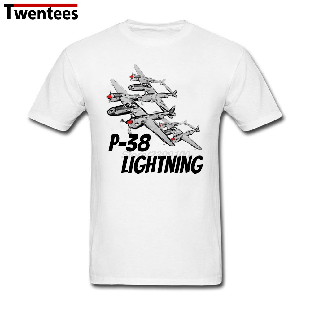 Printing Graphic O-Neck Organic Cotton P-38 Lightning Jet Plane T Shirt Men 3XL Boys Brand T Shirt(China (Mainland))