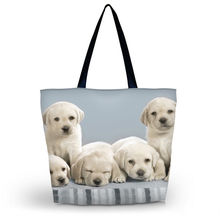 Cute Dogs Womens Eco Shopping Bag Girl's Utility School Travel Bag Tote Foldable Grocery Packing Tote Beach Bag Free shipping(China)